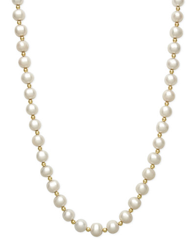 Belle de Mer Cultured Freshwater Pearl (7-1/2mm) and Bead Necklace in 14k Gold