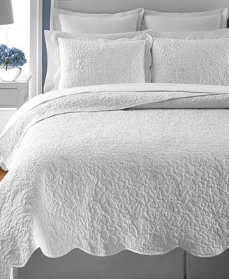 CLOSEOUT! Martha Stewart Collection Whisper Leaves White Quilts ... : white quilt bedding - Adamdwight.com