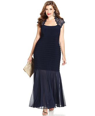 Xscape Plus Size Glitter-Lace Mermaid Gown - Dresses - Women - Macy\'s