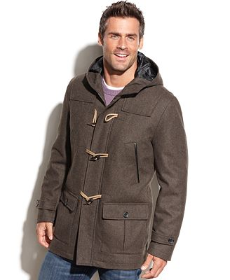 Nautica Wool-Blend Hooded Toggle Coat - Coats & Jackets - Men - Macy's