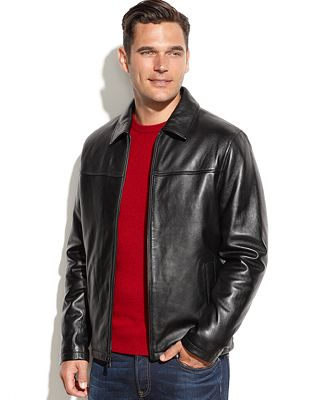 Izod Genuine Leather Bomber Jacket - Coats & Jackets - Men - Macy's
