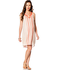 Aryn K Maternity Embroidered Racerback Caftan Dress