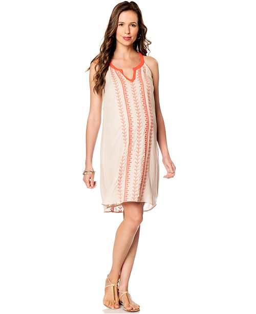 A Pea in the Pod Aryn K Maternity Embroidered Racerback Caftan Dress