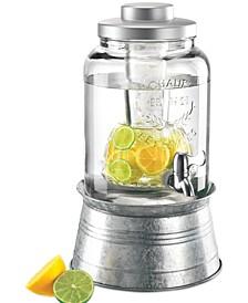 Masonware Galvanized Tin and Glass 2-Gallon Beverage Dispenser