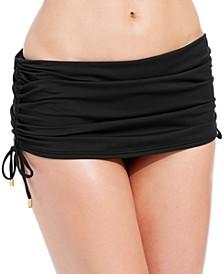 Side-Tie Adjustable Ruched Swim Skirt
