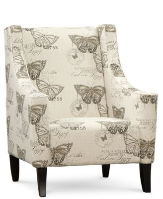 Delightful Josie Fabric Butterfly Printed Accent Chair, Quick Ship