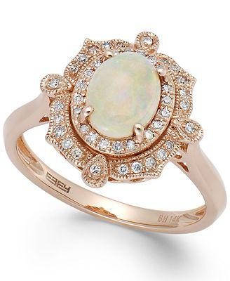 Aurora by EFFY Opal 5 8 ct t w and Diamond 1 6 ct t w Oval