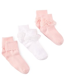 3-Pack Decorative Socks, Little Girls & Big Girls