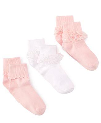 Trimfit Girls' or Little Girls' 3-Pack Decorative Socks