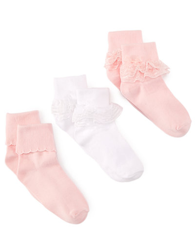 Trimfit Girls' or Little Girls' 3-Pack Decorative Socks