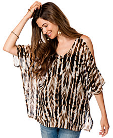 Wendy Bellissimo Maternity Cold-Shoulder Animal-Print Top