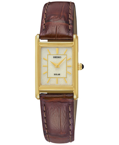 Seiko Women's Solar Brown Leather Strap Watch 18mm SUP252