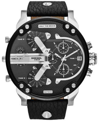 Men's Chronograph Mr. Daddy 2.0 Black Leather Strap Watch 66x57mm DZ7313