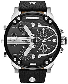 Men's Chronograph Mr. Daddy 2.0 Black Leather Strap Watch 66x57mm DZ7313