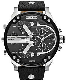 Diesel Men's Chronograph Mr. Daddy 2.0 Black Leather Strap Watch 66x57mm DZ7313