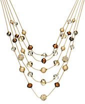 INC International Concepts Gold-Tone Bronze Bead Illusion Necklace