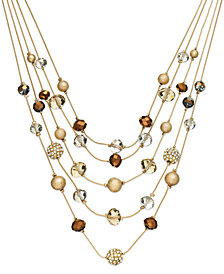 I.N.C. Gold-Tone Bronze Bead Illusion Necklace