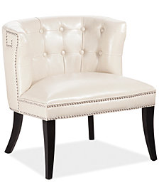 Amanda Faux Leather Accent Chair, Quick Ship