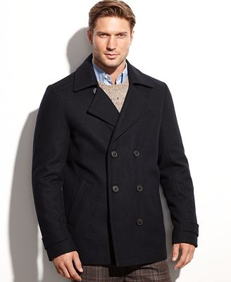 Calvin Klein Wool-Blend Double-Breasted Pea Coat - Coats & Jackets ...