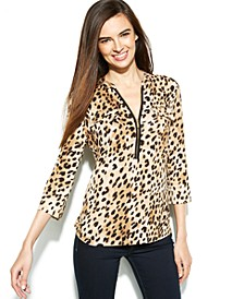 Roll-Tab Cheetah-Print Zip-Front Top