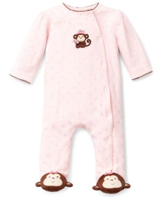 Baby Girls Pretty Monkey Footed Coverall