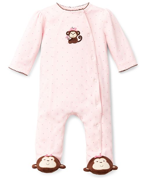 Little Me Baby Girls Pretty Monkey Footed Coverall