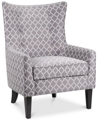High Quality Brie Printed Fabric Accent Chair, Quick Ship