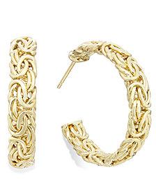 Italian Gold Byzantine Hoop Earrings in 14k Gold