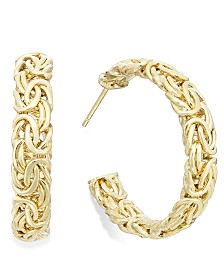 Italian Gold Byzantine Hoop Earrings in 14k Gold