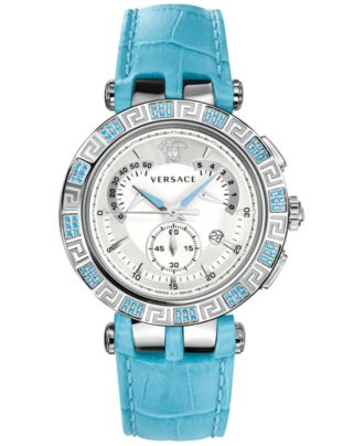 Versace Women's Swiss Chronograph V-Race Topaz (2/5 ct. t.w.) Turquoise Alligator-Embossed Leather Strap Watch 46mm 23C935D002 S535