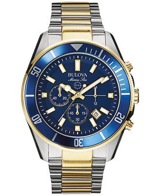Bulova Men's Chronograph Marine Star Two-Tone Stainless Steel Bracelet Watch 43mm 98B230