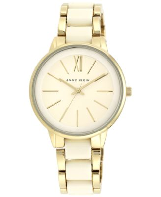 Image of Anne Klein Women's Ivory-Color and Gold-Tone Bracelet Watch 37mm AK/1412IVGB