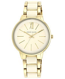 Anne Klein Women's Ivory-Color and Gold-Tone Bracelet Watch 37mm AK-1412IVGB