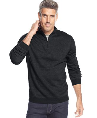 John Ashford Big and Tall Long Sleeve Solid Quarter-Zip Pullover ...