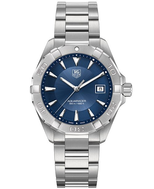 TAG Heuer Men's Swiss Aquaracer Stainless Steel Bracelet Watch 41mm WAY1112.BA0910