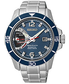 Seiko Men's Kinetic Direct Drive Stainless Steel Bracelet Watch 45mm SRG017