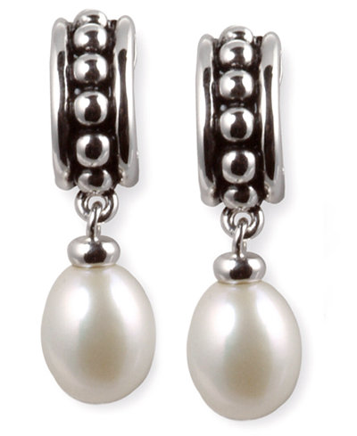 Honora Style Cultured Freshwater Pearl Hoop Earrings In Sterling Silver