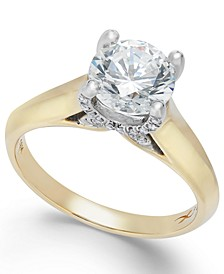 Certified Diamond (1 ct. t.w.) Solitaire Engagement Ring in 18k Yellow and White Gold, Created for Macy's