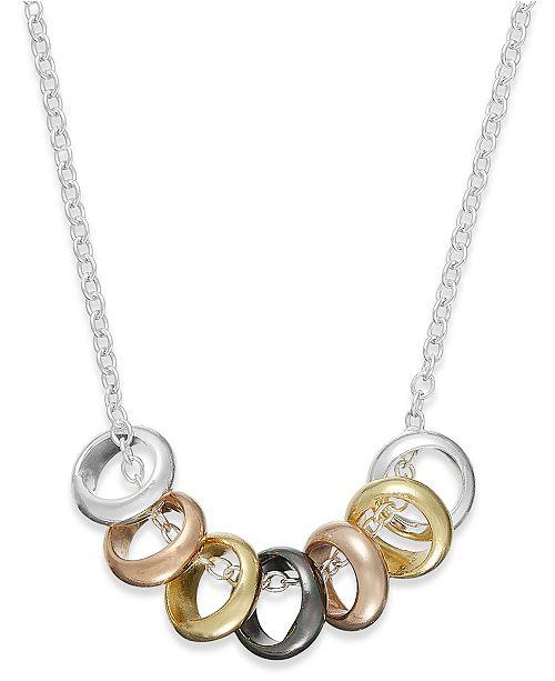 Giani Bernini Multi-Tone Seven Ring Frontal Necklace in Sterling Silver