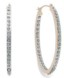 Diamond Accent Oval Hoop Earrings in 14k Rose Gold