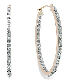 Diamond Accent Oval Hoop Earrings in 14k Rose Gold