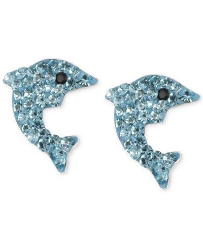 Betsey Johnson Silver-Tone Blue Pavé Dolphin Stud Earrings