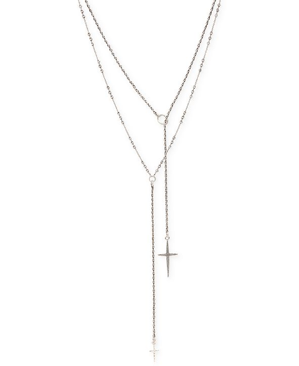 Lucky Brand Silver-Tone Double Cross Necklace