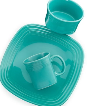 square turquoise place setting
