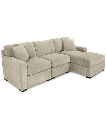 Radley 3 piece fabric chaise sectional sofa furniture for Radley sectional sofa macy s