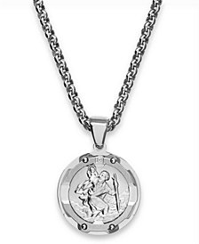 Round St. Christopher Diamond Pendant in Stainless Steel