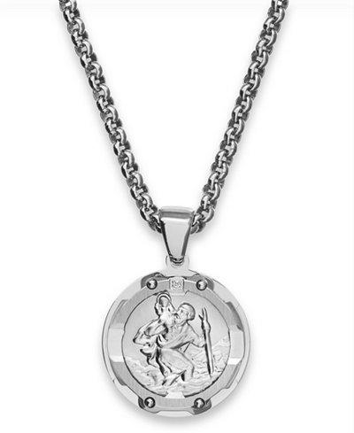 Round st christopher diamond pendant in stainless steel necklaces round st christopher diamond pendant in stainless steel mozeypictures Gallery