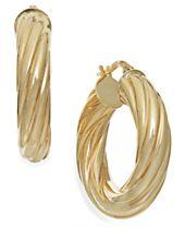 Italian Gold Twist Hoop Earrings in 14k Gold