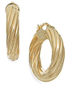 Italian Gold Twist Hoop Earrings in 14k Gold, 1 inch