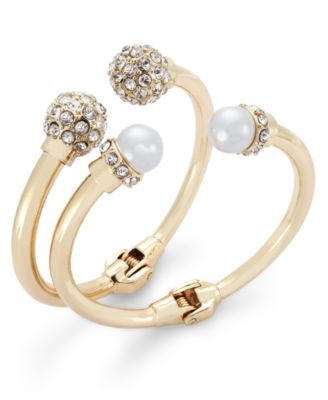 Image of INC International Concepts Imitation Pearl and Crystal Fireball Hinge Bracelet Set, Created for Macy